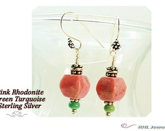Rhodonite Earrings ~ Pink Earrings ~ Pink and Turquoise Earrings with Sterling Silver - E0902-06