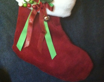 Handmade Christmas Stocking - Red and White Fur