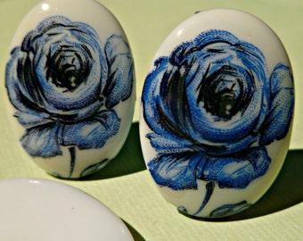 Vintage German 25x18mm Blue Flower Glass Cabochons (26-9-2)
