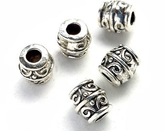 20pcs Antique silver 8mm barrel drum beads SPB514S