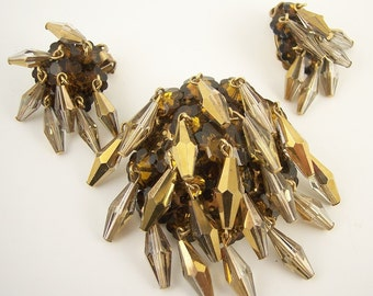 Vintage Crystal Brooch Set