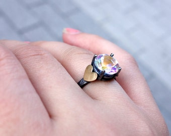 Opalescent Topaz and Heart Ring
