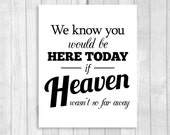 We Know You Would Be Here Today If Heaven Wasn't So Far Away 8x10 Printable In Loving Memory Wedding Sign - DIY Digital Download