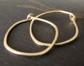 14k solid gold hammered hoops endless hoop earrings rustic organic shape