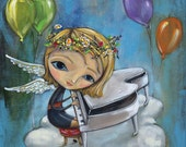 """Angel Piano Player on Cloud with Balloons - Pop Surrealism """"Musical Fauna"""" Print - by Heather Renaux-unframed"""