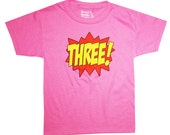 Kids Superhero 3rd Birthday T-Shirt - Hot Pink