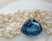 London Blue Topaz Trillion Double Strands Tiny Seed Pearls Necklace