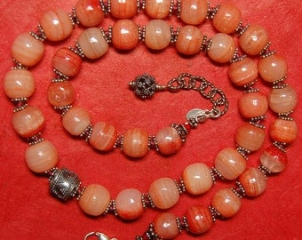 Hand knotted semi precious quartz and Bali sterling silver beaded necklace