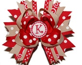 Custom Embroidered Initial Monogram School Uniform Bow, Headband Bow