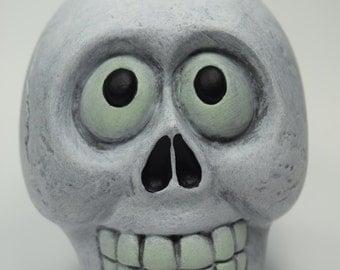 Skull - Halloween - Decor - Happy Face - Teeth - Skeleton - Cute - Surprised - Glow In The Dark - Hand Painted - Sculpture - Traditional Art