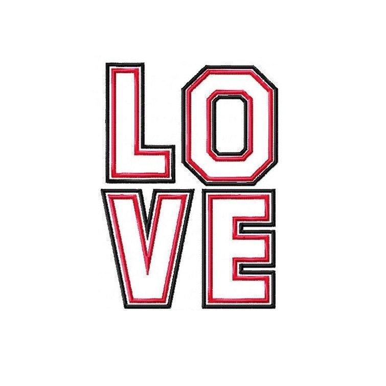 DIGITAL FILE Machine Embroidery Block Letters LOVE