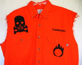 Flammable  Safety Work Shirt SAFETY THIRD tatter XL Mens Orange Safety Shirt ooak screenprint Radioactive Grenade skull Burning Man upcycled
