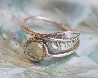 Botanical Ring, stack ring, delicate ring, thin ring, leaf ring, sterling silver ring, stone ring, citrine ring - Gone with the wind R2062-5