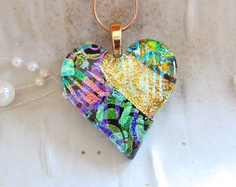 Fused Dichroic Heart Pendant, Glass Jewelry, Gold, Green, Pink, One of a Kind, Necklace Included, A8