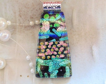 Dichroic Glass Pendant, Necklace, Fused Glass Jewelry, Necklace Included, One of a Kind, Green, Pink, Blue, A9