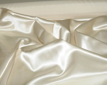 """Satin  Fabric 60""""  Oyster  100% polyester ... bridal, formal, pageant, suits , home decor..wedding...crafts"""