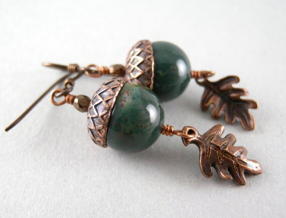 Emerald Green Stone Acorns and Copper Oak Leaves Earrings with Free USA Shipping