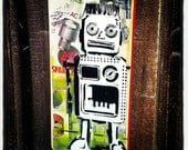 Robot Graffiti Painting on Canvas Pop Art Style Original Artwork Stencil Urban Street Art