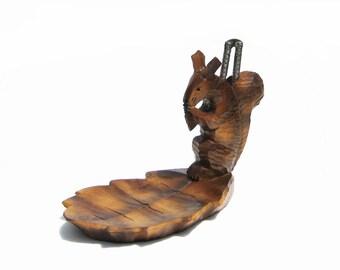 Wood Squirrel Nut Dish Hand Carved Folk Art Nut Bowl & Nutcracker Rustic Cabin Decor