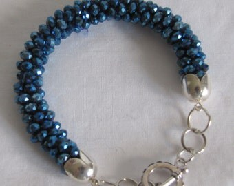 Bracelet Jewelry in Blue Crystals Braided in Kumihimo Japanese Syle