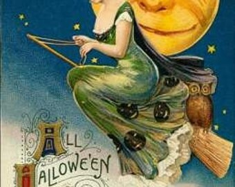 Art Print on silk - silky print Halloween lady in green dress riding broom w big smiling moon - Crazy Quilt Fiber Arts Collage Applique