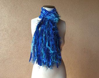 Blue Scarf Royal Blue Scarf Deep Blue Knit Scarf made of Ribbon with Sparkle Fringe and Black