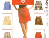 Womens Tennis Skort A line above knee skirt sewing pattern MCCalls 4519 Sz 12 to 18 UNCUT
