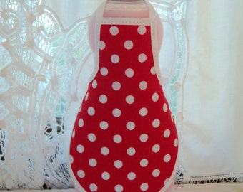 Red Polka Dots  Bottle Apron - fits 25 oz.