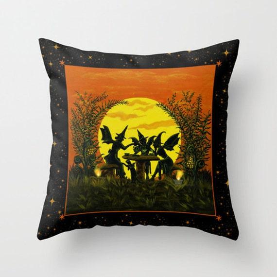 Decorative Reading Pillow : Halloween Home Decor Pillow Reading the tea