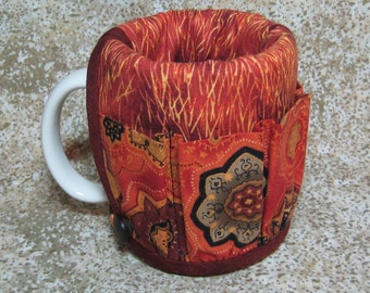 Coffee Caddy Desk Sewing Organizer Cozy For Mug or Goblet Masculine Medallions Brown OrangeCrap Caddy