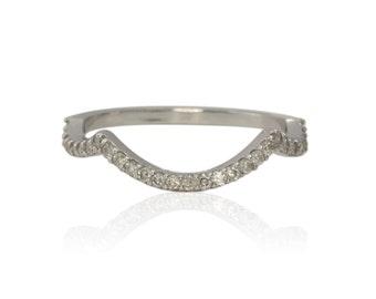 Diamond Wedding Band, 14k White Gold Prong Set Diamond Contoured Wedding Band - LS2653