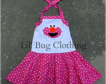 Custom Boutique Clothing Elmo Pink Sesame Street Tiered Polka Dot Dress