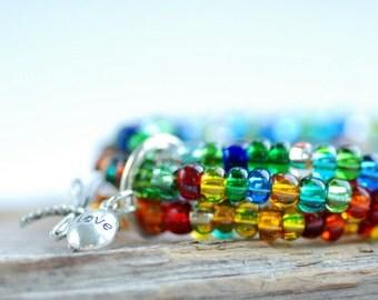 Colorful Beaded Bracelets, Glass Bracelets, Dragonfly Jewelry, Stretch Bracelet, Stacking Bracelet, Set of 5 Bracelets, Rainbow Jewelry