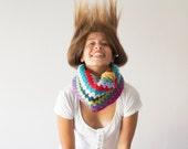 Crochet neckwarmer multicolored,cowl,knti collar,crochet cowl,colored cowl,teen circle scarf,scarflette