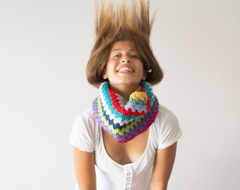 Crochet neckwarmer multicolored cowl knit collar crochet cowl colored cowl teen circle scarf scarflette