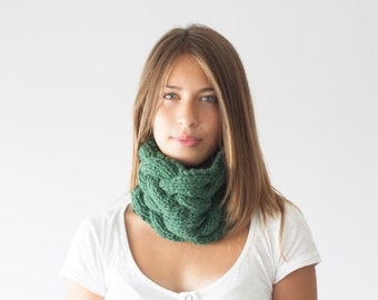 Green knit neckwarmer knit cowl collar neck warmer tube scarf infinity scarf cowl scarf