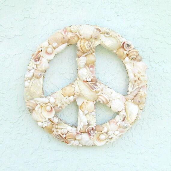 Peace Sign Wall Art Seashells And Coral Pink Tan And Pearl