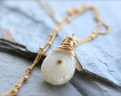 Solar Quartz Wire Wrapped Gold Necklace. White and Clear Gemstone Necklace on Satellite Chain