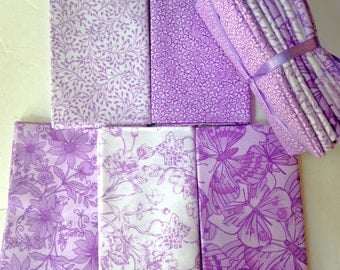 Fat Quarter Lot of 10 Purple Violet White