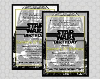 Darth Vader Star Wars Birthday Invitation -  Birthday Invite -  Digital Printable DIY