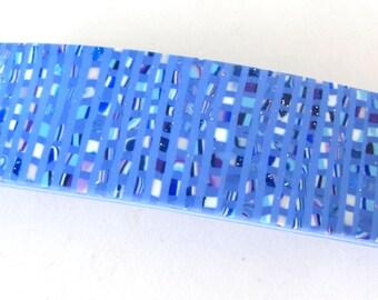 Blue Barrette, Blue Tweed Barrette, Blue Fimo Barrette, Blue Polymer Barrette, Blue Glitter Barrette, Millefiori Barrette, Blue Hair Clip