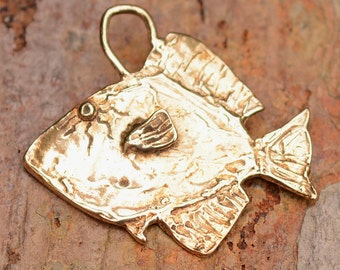 Incredible Fish  Charm or Pendant in Gold Bronze