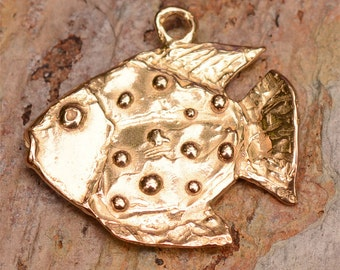 Dotted Fish Gold Bronze Pendant