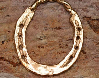 Horse Shoe Pendant or Big Charm in Gold Bronze
