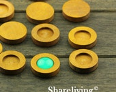 10pcs 12mm Wood Setting / Tray, Wooden Round Cameo Tray