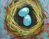Nest painting 282 12x12 inch original bird nest portrait oil painting by Roz