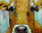 Cow painting 1021 30x30 inch animal original oil painting by Roz
