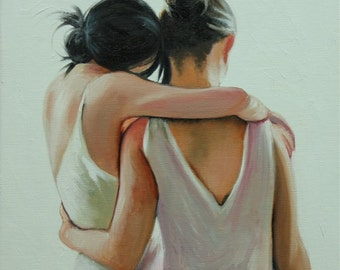 Sisters 1 12x12 inch original portrait figure oil painting by Roz