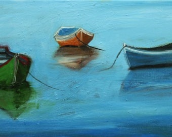Boats 42 12x24 inch original impressionistic oil painting by Roz