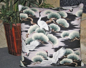 Asian Cranes and Pines Design Zippered Japanese Pillow Cover